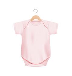Realistic light pink baby onesie shirt mockup vector