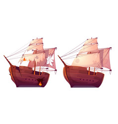 retro wooden ships with white sail cartoon vector image