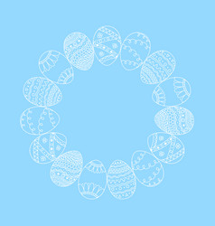 Round frame from white doodle easter eggs vector