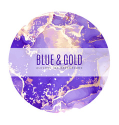 round poster wet ink background blue gold vector image
