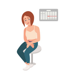 sad girl sitting on stool with her hands on belly vector image