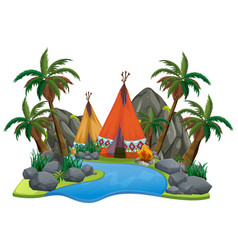 Scene with teepee river on white background vector