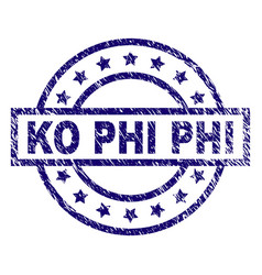 Scratched textured ko phi stamp seal vector