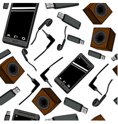 seamless pattern electronic gadget vector image