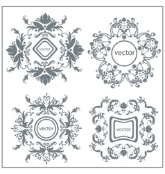 Set decorative floral ornament logo vector image