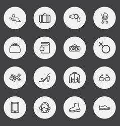 Set of 16 editable trade outline icons includes vector