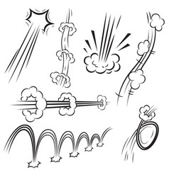 Set of comic style action effects speed lines vector
