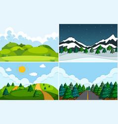 set of flat nature landscape vector image