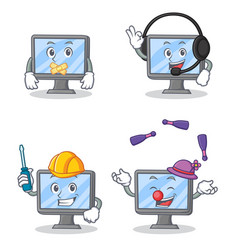 Set of monitor character with silent headphone vector
