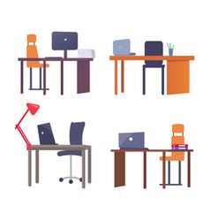 set of work places with tables computer devices vector image