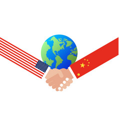 shaking hands with china flag and united states vector image