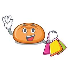 Shopping hamburger bun character cartoon vector