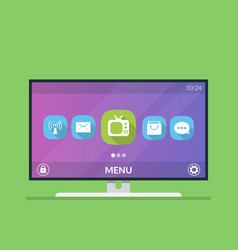 smart tv menu with icons and smart tv settings vector image