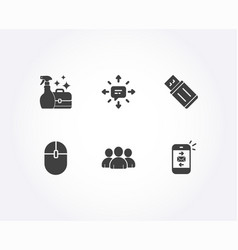Sms usb flash and group icons cleanser spray vector