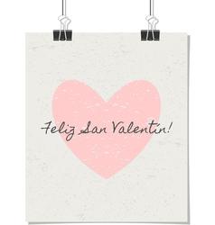 Spanish st valentines day poster vintage design vector
