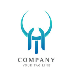 Ta letter logo template with horns vector