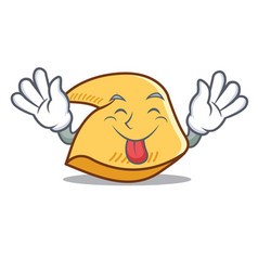 Tongue out fortune cookie mascot cartoon vector