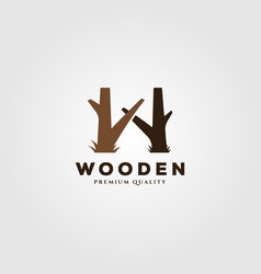 tree trunk wooden logo design with letter w symbol vector image