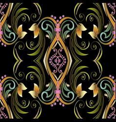 Vintage 3d seamless pattern floral background vector