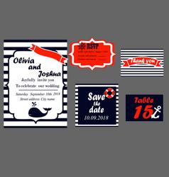 Wedding invitation cards set nautical style vector