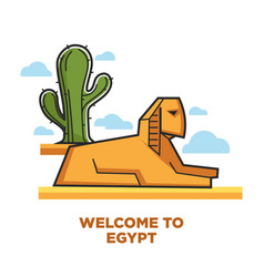 welcome to egypt promotional poster with sphinx vector image