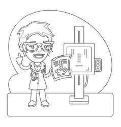 x-ray operator coloring page vector image