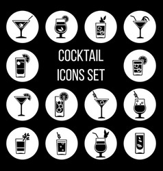 cocktail icons set in black and white vector image