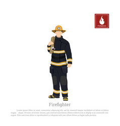 Firefighter with an fire hose white background vector