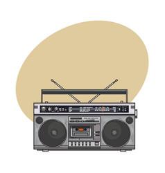 retro style audio tape recorder ghetto boom box vector image vector image