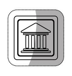 silhouette emblem shape bank icon vector image