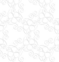 3d white slim swirls and clove leaves vector