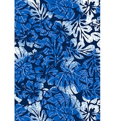 Blue tropical ferns and hibiscus with a distressed vector image
