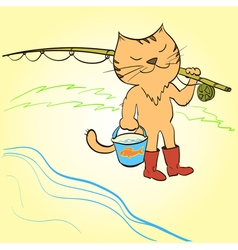 Cat goes fishing with a fishing rod and a bucket vector image vector image
