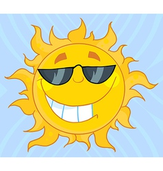 Smiling Sun Mascot Cartoon Character With Sunglass vector image vector image
