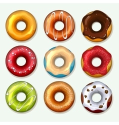 Donuts icons set in cartoon style vector image