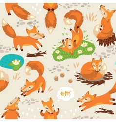 Seamless pattern with little cute foxes vector image