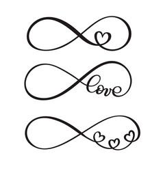 set of word love original custom hand lettering vector image