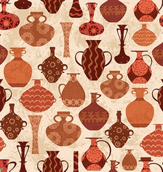 vintage seamless texture with ethnic vases vector image vector image