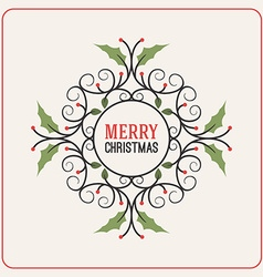 Christmas Postcard Decorative Greeting with vector image