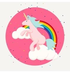 Cute happy unicorn and rainbow clouds tshirt vector image