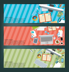 flat style business concept of working place vector image vector image