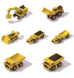 isometric mining machinery set vector image vector image