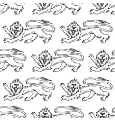 Royal heraldic lions seamless pattern vector image vector image