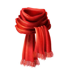 3d realistic silk velvet red scarf vector