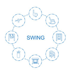 8 swing icons vector image
