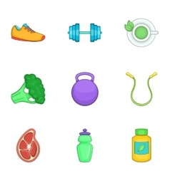 Active lifestyle icons set cartoon style vector