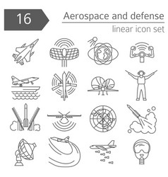 aerospace and defense military aircraft icon set vector image