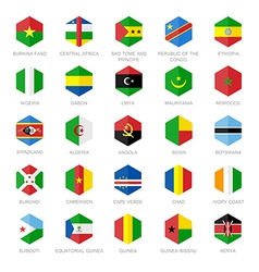 Africa flag icons hexagon flat design vector