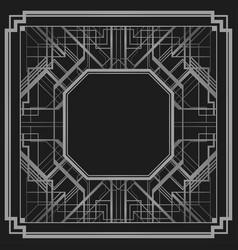 art deco style geometric frame border design gold vector image