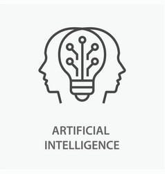 artificial intelligence line icon on white vector image